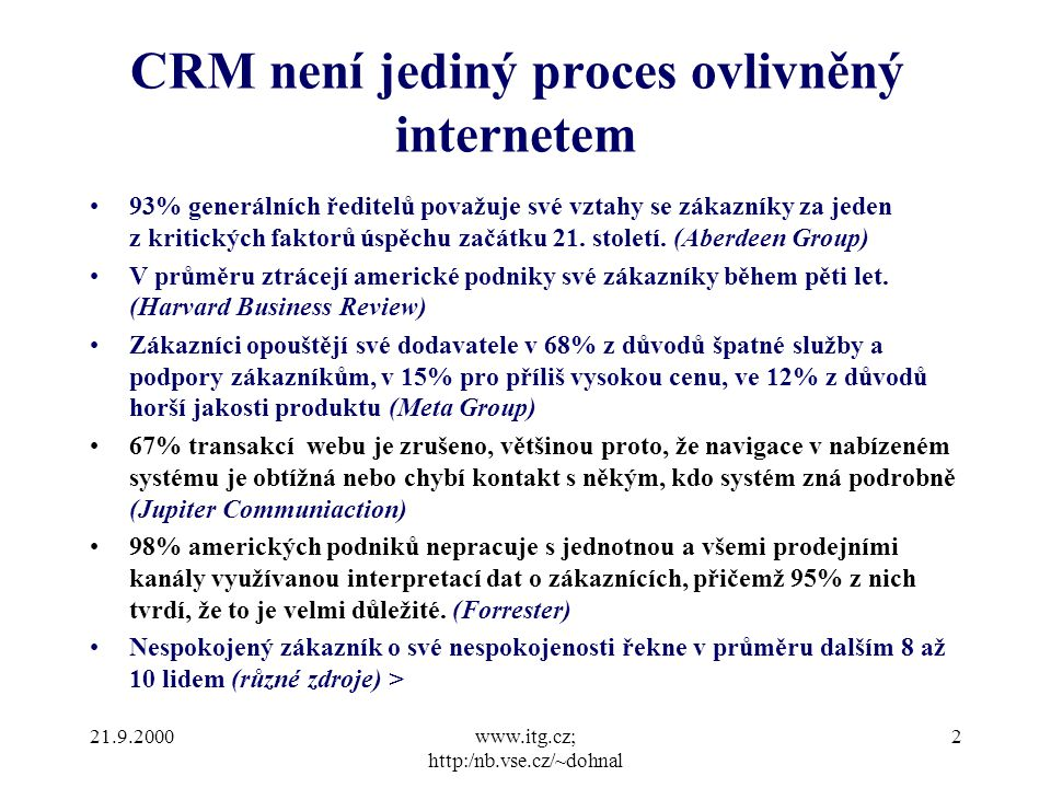 21.9.2000www.itg.cz; http:/nb.vse.cz/~dohnal 2 93% generálních ředitelů považuje své vztahy se zákazníky za jeden z kritických faktorů úspěchu začátku 21.