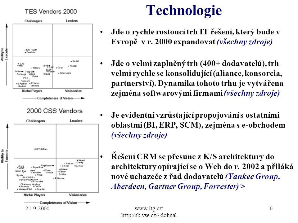 21.9.2000www.itg.cz; http:/nb.vse.cz/~dohnal 6 Technologie Jde o rychle rostoucí trh IT řešení, který bude v Evropě v r.