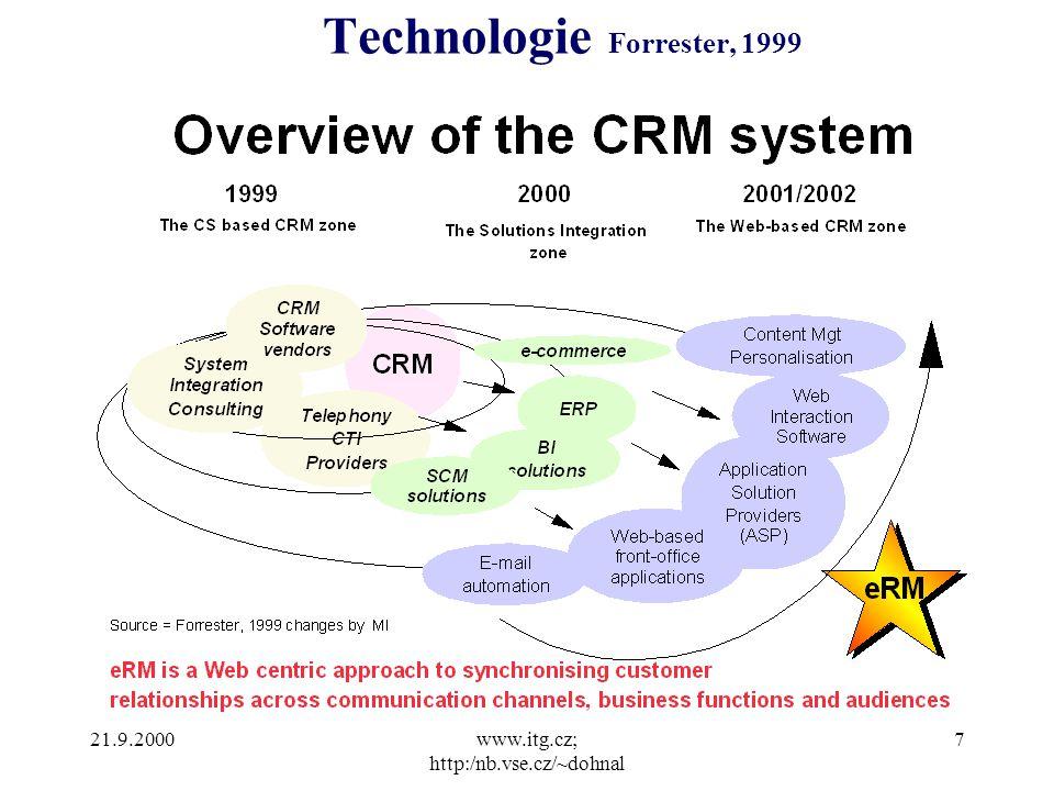 21.9.2000www.itg.cz; http:/nb.vse.cz/~dohnal 7 Technologie Forrester, 1999