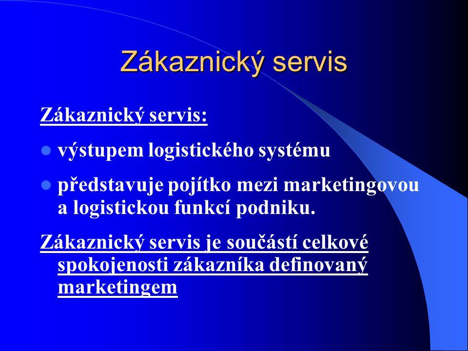 Zákaznický servis Zákaznický servis: výstupem logistického systému představuje pojítko mezi marketingovou a logistickou funkcí podniku. Zákaznický ser