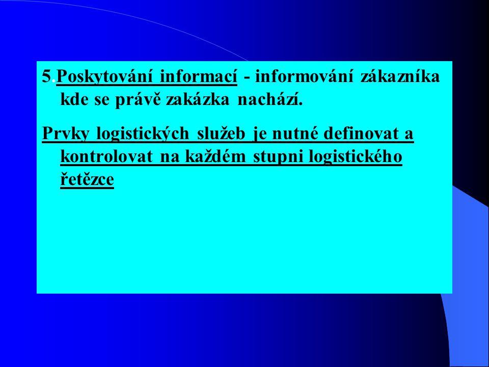 5.Poskytování informací - informování zákazníka kde se právě zakázka nachází. Prvky logistických služeb je nutné definovat a kontrolovat na každém stu