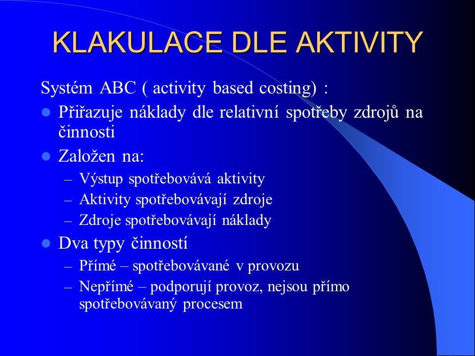KLAKULACE DLE AKTIVITY Systém ABC ( activity based costing) : Přiřazuje náklady dle relativní spotřeby zdrojů na činnosti Založen na: – Výstup spotřeb