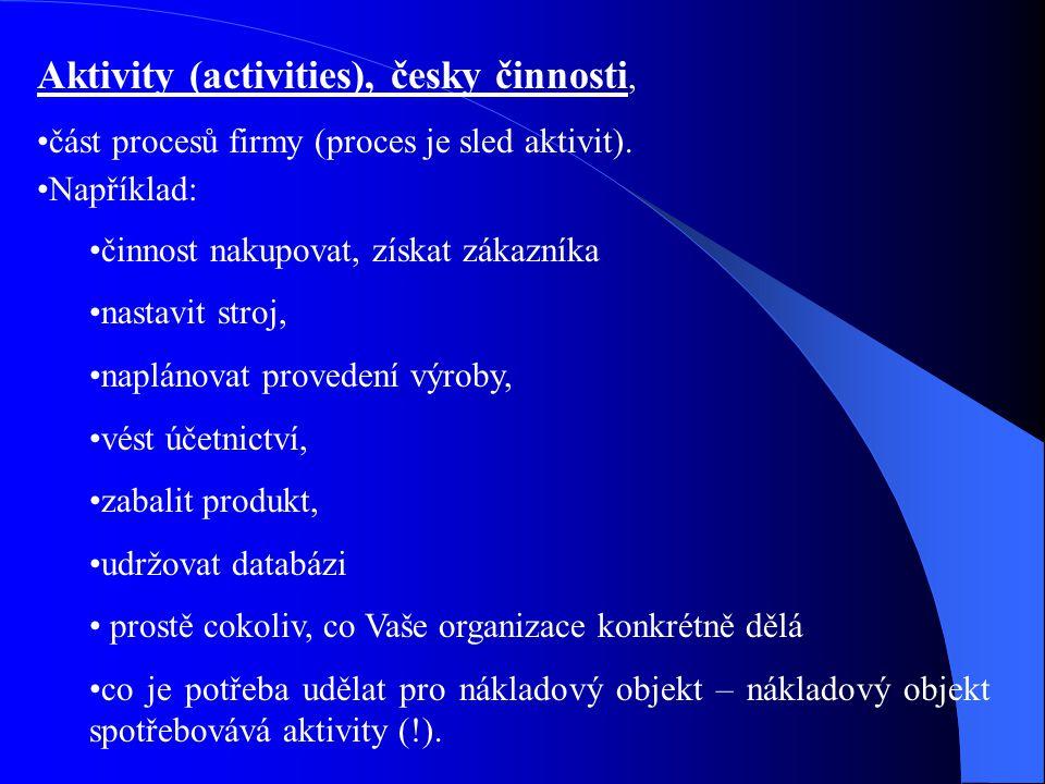 Aktivity (activities), česky činnosti, část procesů firmy (proces je sled aktivit). Například: činnost nakupovat, získat zákazníka nastavit stroj, nap