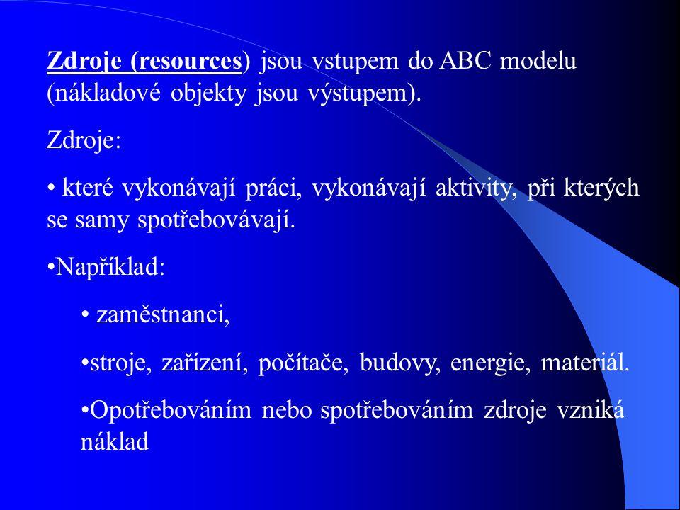 Zdroje (resources) jsou vstupem do ABC modelu (nákladové objekty jsou výstupem). Zdroje: které vykonávají práci, vykonávají aktivity, při kterých se s