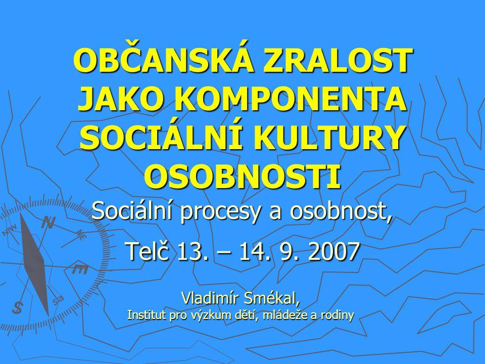 OBČANSKÁ ZRALOST JAKO KOMPONENTA SOCIÁLNÍ KULTURY OSOBNOSTI Sociální procesy a osobnost, Telč 13. – 14. 9. 2007 Vladimír Smékal, Institut pro výzkum d