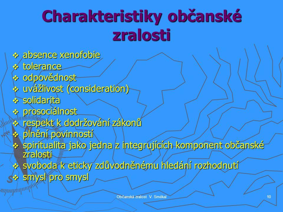Občanská zralost V. Smékal10 Charakteristiky občanské zralosti  absence xenofobie  tolerance  odpovědnost  uvážlivost (consideration)  solidarita