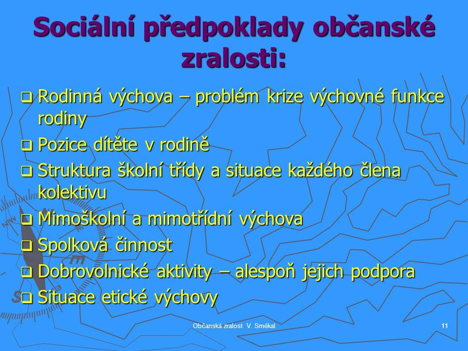 Občanská zralost V. Smékal11 Sociální předpoklady občanské zralosti:  Rodinná výchova – problém krize výchovné funkce rodiny  Pozice dítěte v rodině