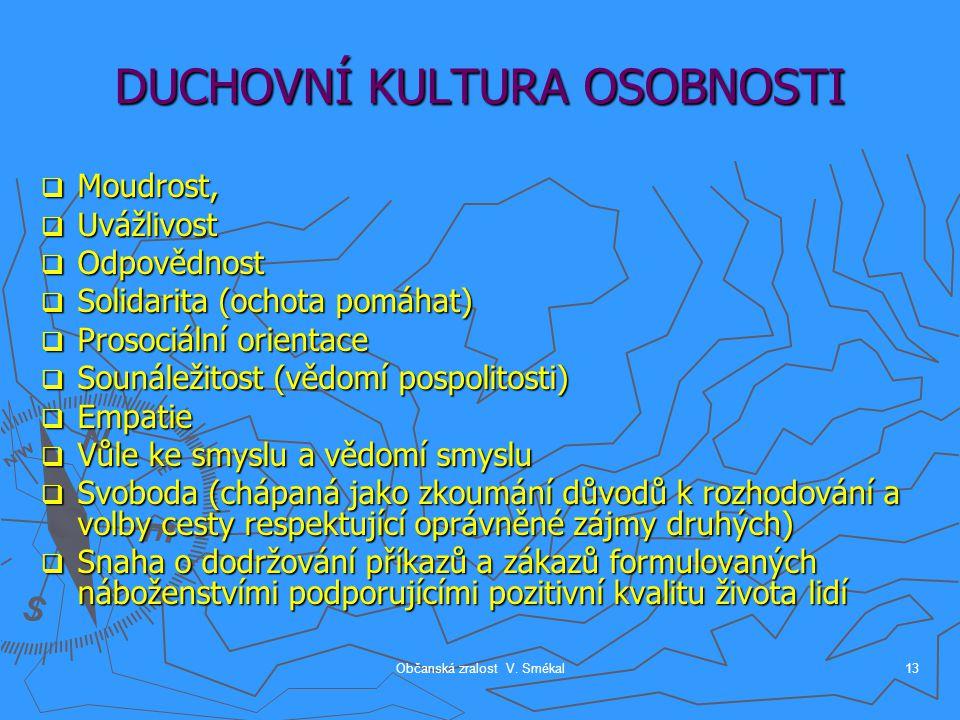 Občanská zralost V. Smékal13 DUCHOVNÍ KULTURA OSOBNOSTI  Moudrost,  Uvážlivost  Odpovědnost  Solidarita (ochota pomáhat)  Prosociální orientace 