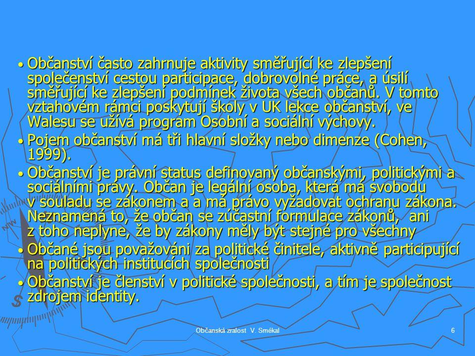 Občanská zralost V. Smékal6 Občanství často zahrnuje aktivity směřující ke zlepšení společenství cestou participace, dobrovolné práce, a úsilí směřují