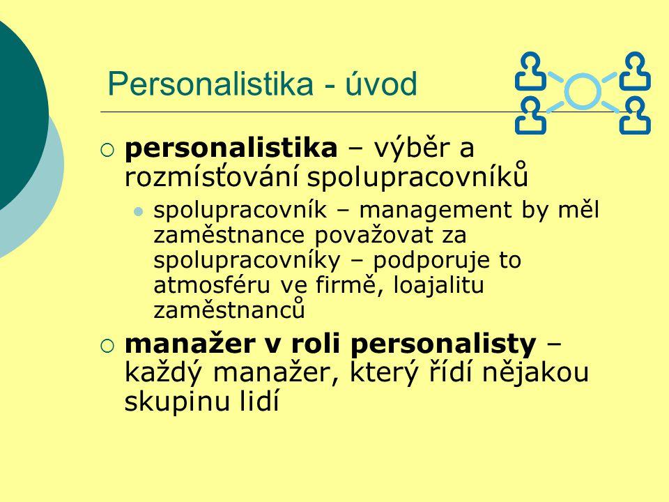 Personalistika - úvod  personalistika – výběr a rozmísťování spolupracovníků spolupracovník – management by měl zaměstnance považovat za spolupracovníky – podporuje to atmosféru ve firmě, loajalitu zaměstnanců  manažer v roli personalisty – každý manažer, který řídí nějakou skupinu lidí