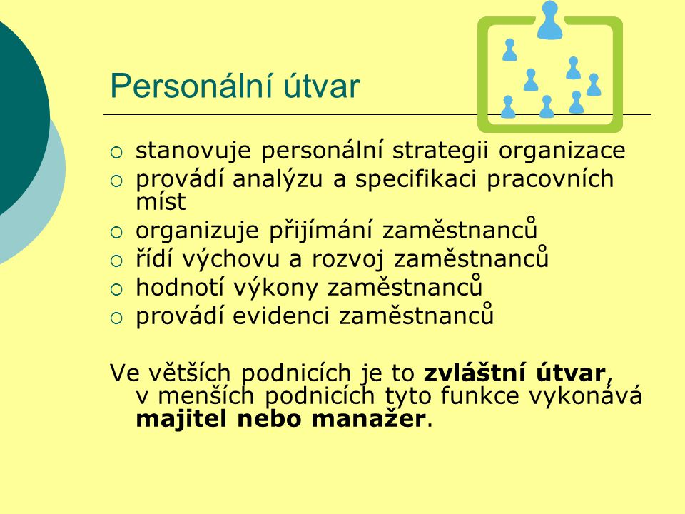 Personální útvar  stanovuje personální strategii organizace  provádí analýzu a specifikaci pracovních míst  organizuje přijímání zaměstnanců  řídí výchovu a rozvoj zaměstnanců  hodnotí výkony zaměstnanců  provádí evidenci zaměstnanců Ve větších podnicích je to zvláštní útvar, v menších podnicích tyto funkce vykonává majitel nebo manažer.