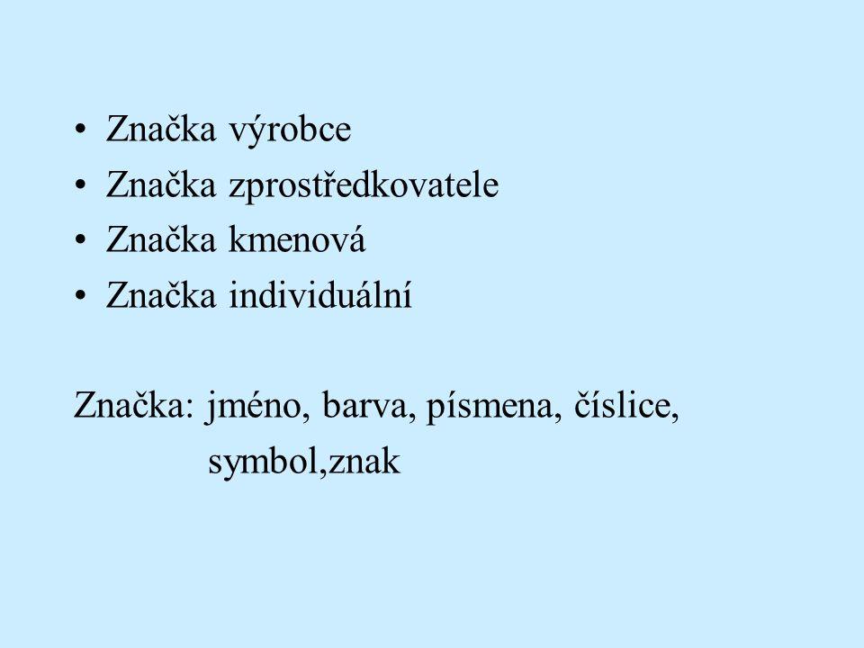 Značka výrobce Značka zprostředkovatele Značka kmenová Značka individuální Značka: jméno, barva, písmena, číslice, symbol,znak
