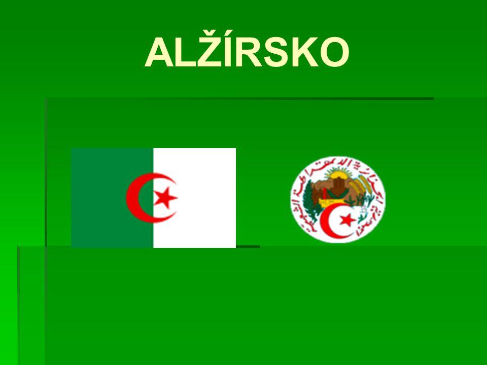 Alžírská demokratická a lidová republika (oficiální název)  Rozloha: 2 381 741 km 2  Počet obyvatel: 33 mil.