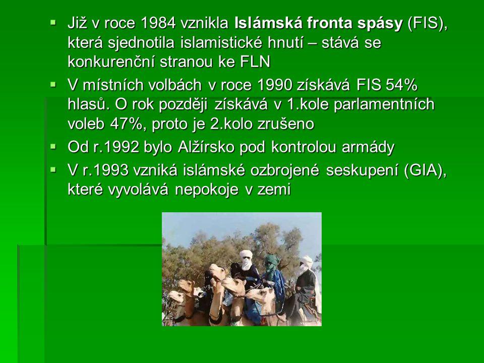  Již v roce 1984 vznikla Islámská fronta spásy (FIS), která sjednotila islamistické hnutí – stává se konkurenční stranou ke FLN  V místních volbách