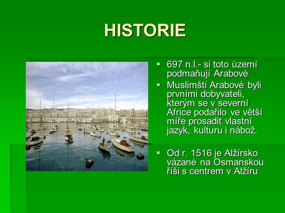 HISTORIE  697 n.l.- si toto území podmaňují Arabové  Muslimští Arabové byli prvními dobyvateli, kterým se v severní Africe podařilo ve větší míře pr