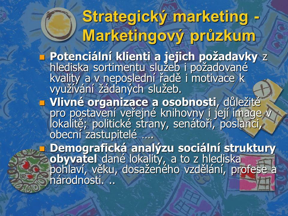 Strategický marketing - Marketingový průzkum n Potenciální klienti a jejich požadavky z hlediska sortimentu služeb i požadované kvality a v neposlední