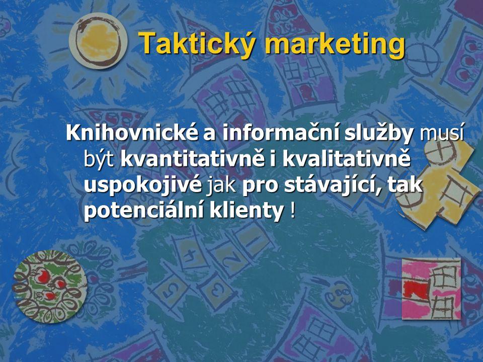 Taktický marketing Knihovnické a informační služby musí být kvantitativně i kvalitativně uspokojivé jak pro stávající, tak potenciální klienty !