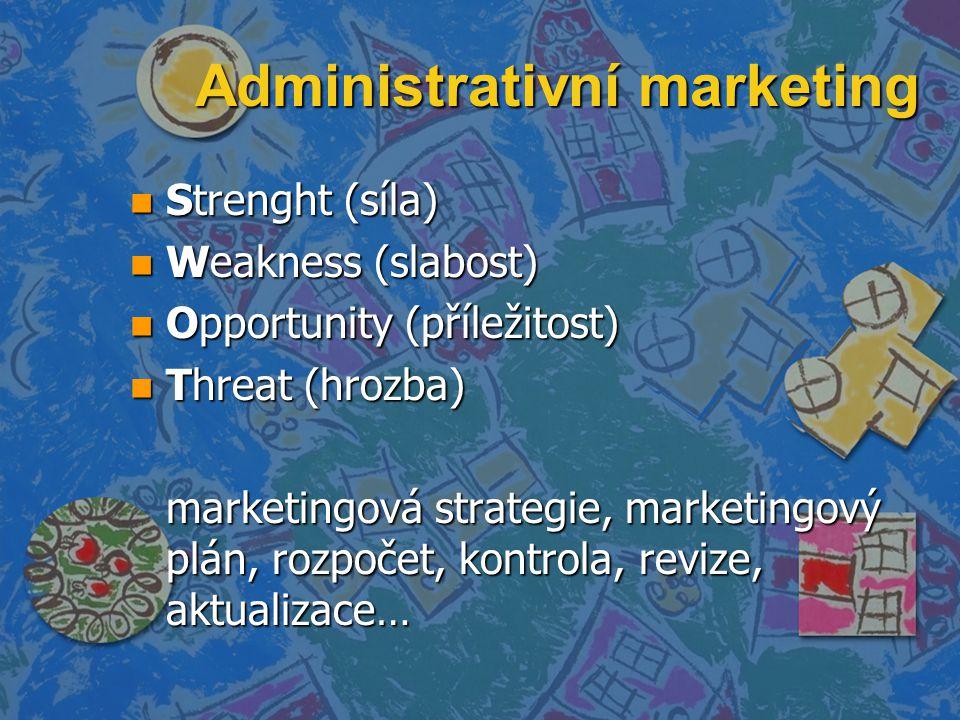 Administrativní marketing n Strenght (síla) n Weakness (slabost) n Opportunity (příležitost) n Threat (hrozba) marketingová strategie, marketingový pl