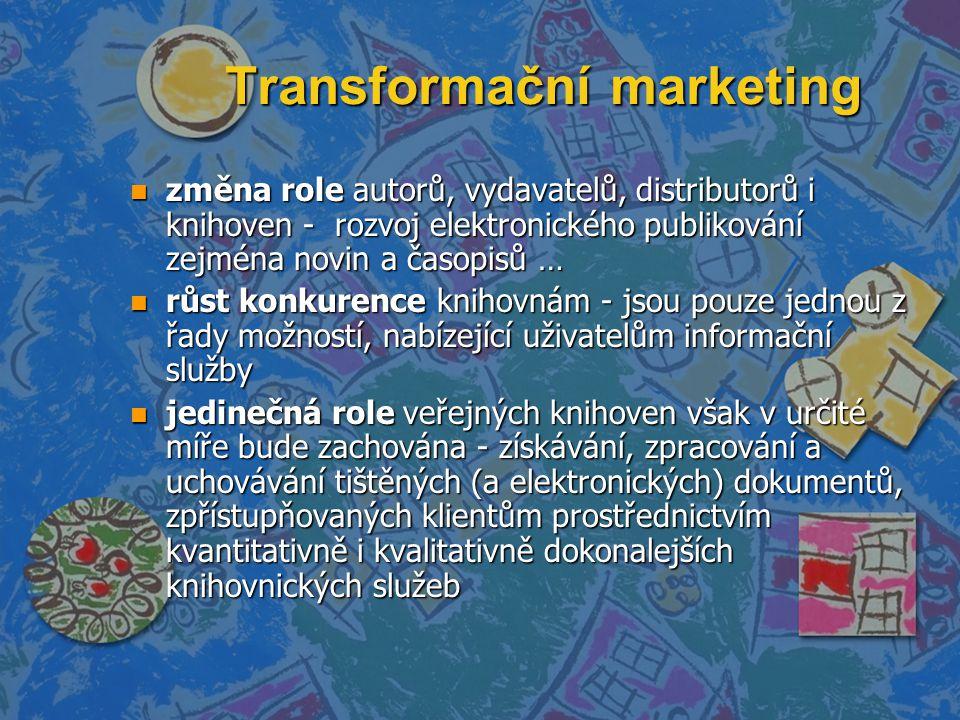 Transformační marketing n změna role autorů, vydavatelů, distributorů i knihoven - rozvoj elektronického publikování zejména novin a časopisů … n růst