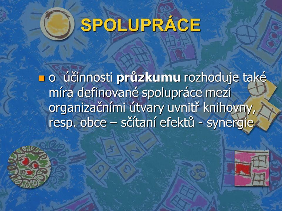 SPOLUPRÁCE n o účinnosti průzkumu rozhoduje také míra definované spolupráce mezi organizačními útvary uvnitř knihovny, resp. obce – sčítaní efektů - s