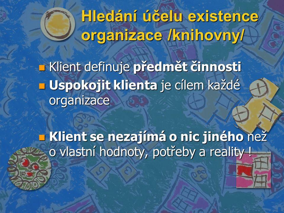 Hledání účelu existence organizace /knihovny/ n Klient definuje předmět činnosti n Uspokojit klienta je cílem každé organizace n Klient se nezajímá o