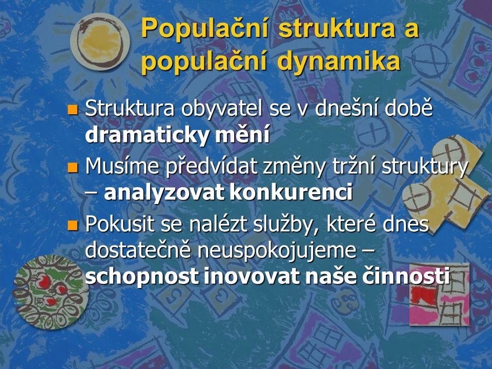 Populační struktura a populační dynamika n Struktura obyvatel se v dnešní době dramaticky mění n Musíme předvídat změny tržní struktury – analyzovat k