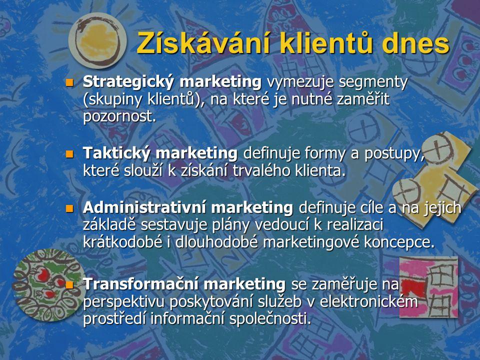 Získávání klientů dnes n Strategický marketing vymezuje segmenty (skupiny klientů), na které je nutné zaměřit pozornost. n Taktický marketing definuje