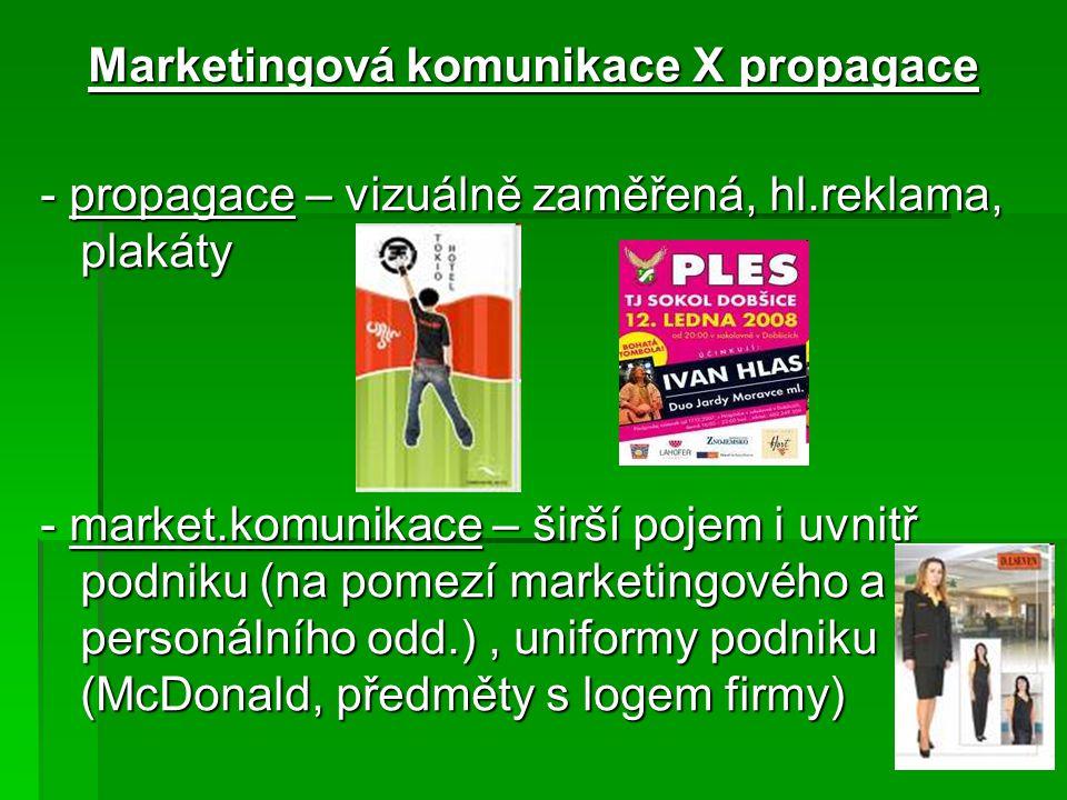 Marketingová komunikace X propagace - propagace – vizuálně zaměřená, hl.reklama, plakáty - market.komunikace – širší pojem i uvnitř podniku (na pomezí marketingového a personálního odd.), uniformy podniku (McDonald, předměty s logem firmy)