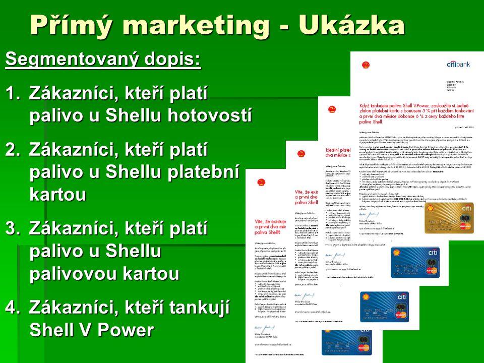 Přímý marketing - Ukázka Segmentovaný dopis: 1.Zákazníci, kteří platí palivo u Shellu hotovostí 2.Zákazníci, kteří platí palivo u Shellu platební kartou 3.Zákazníci, kteří platí palivo u Shellu palivovou kartou 4.Zákazníci, kteří tankují Shell V Power