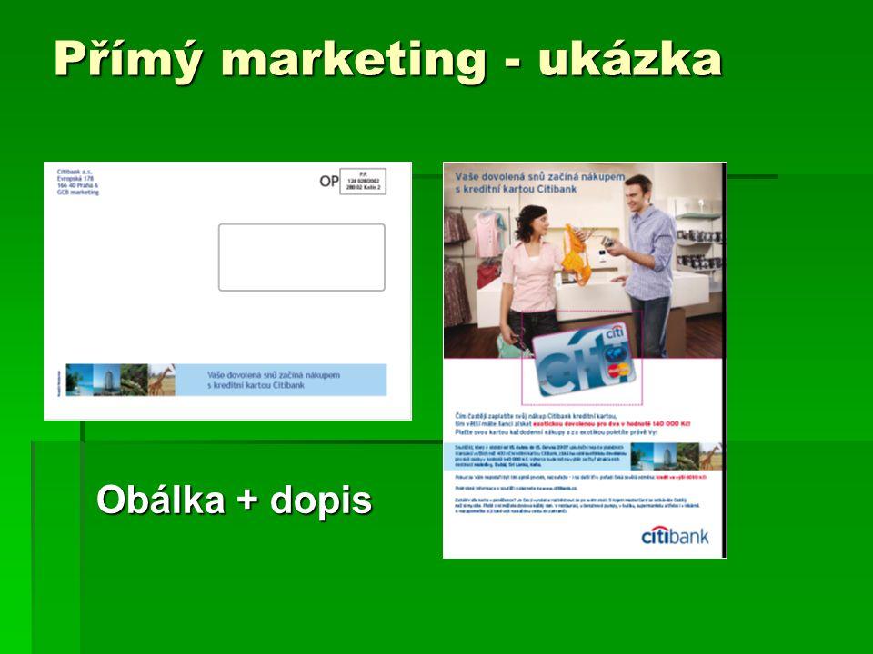 Přímý marketing - ukázka Obálka + dopis