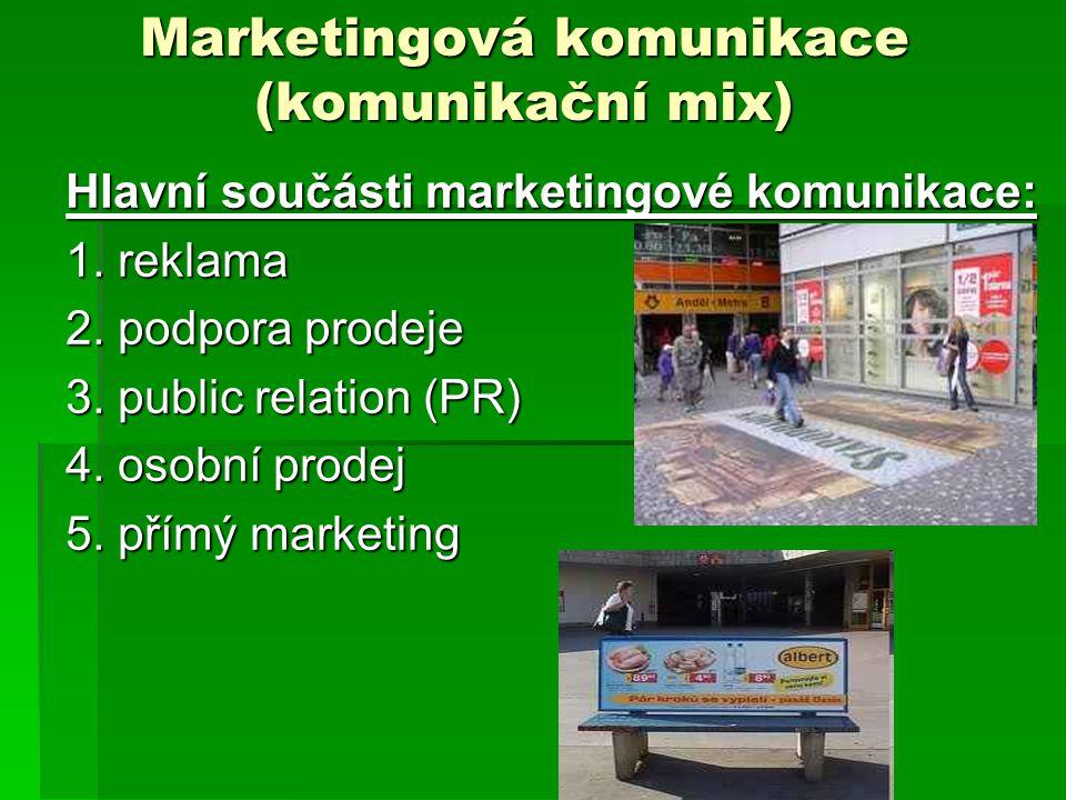 """1.Reklama Produktová reklama – konkrétní VK – jeho přednosti, důvody pro jeho koupi (prací prášky – Ariel, Persil, krémy, kosmetika..) Imageová reklama – nesděluje proč si máme produkt koupit – pouze jej představuje (např.na firmu - KB, Axe """"tak se myjí borci , Adidas, Hornbach..) - většina reklam mezi těmito krajnostmi"""
