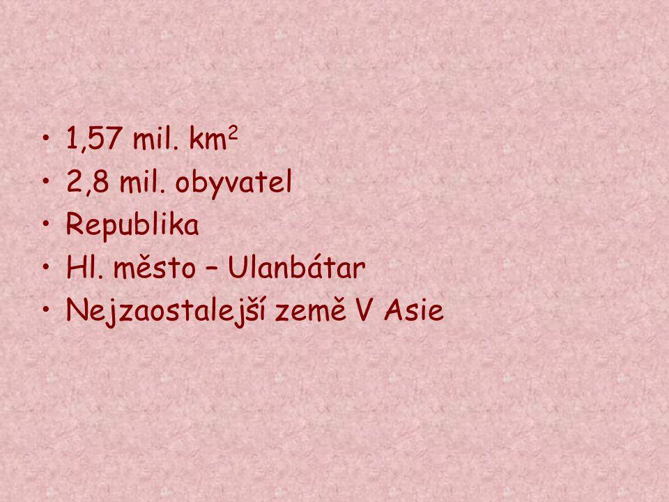 1,57 mil. km 2 2,8 mil. obyvatel Republika Hl. město – Ulanbátar Nejzaostalejší země V Asie