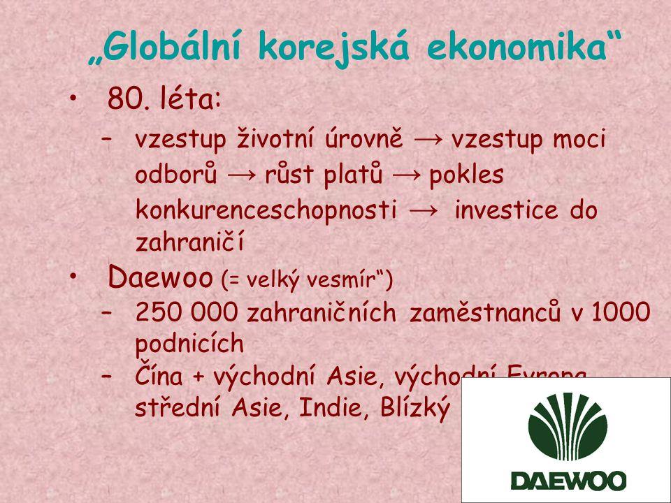 """""""Globální korejská ekonomika"""" 80. léta: –vzestup životní úrovně → vzestup moci odborů → růst platů → pokles konkurenceschopnosti → investice do zahran"""