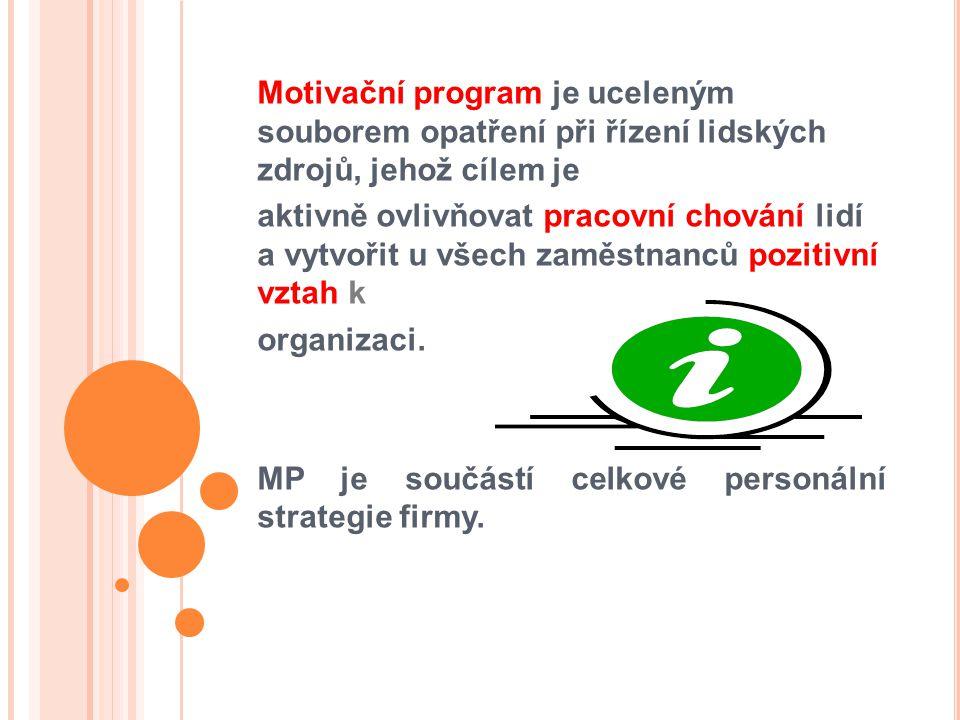 Motivační program je uceleným souborem opatření při řízení lidských zdrojů, jehož cílem je aktivně ovlivňovat pracovní chování lidí a vytvořit u všech zaměstnanců pozitivní vztah k organizaci.