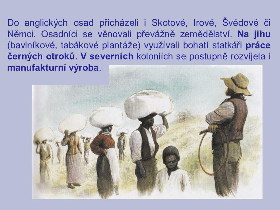 Do anglických osad přicházeli i Skotové, Irové, Švédové či Němci. Osadníci se věnovali převážně zemědělství. Na jihu (bavlníkové, tabákové plantáže) v