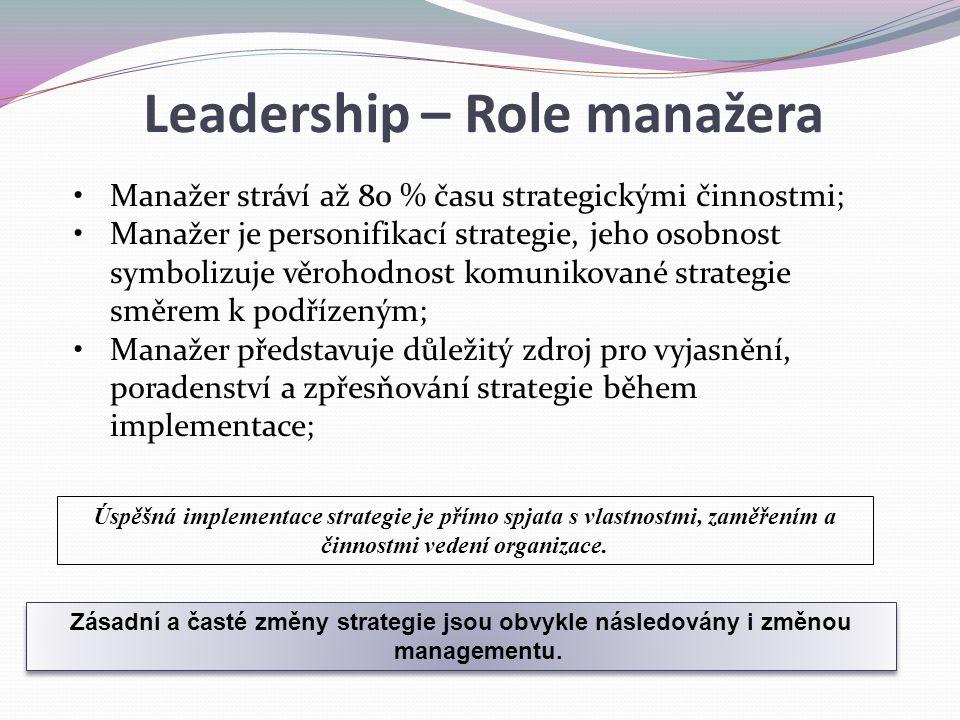 Zásadní a časté změny strategie jsou obvykle následovány i změnou managementu. Manažer stráví až 80 % času strategickými činnostmi; Manažer je personi