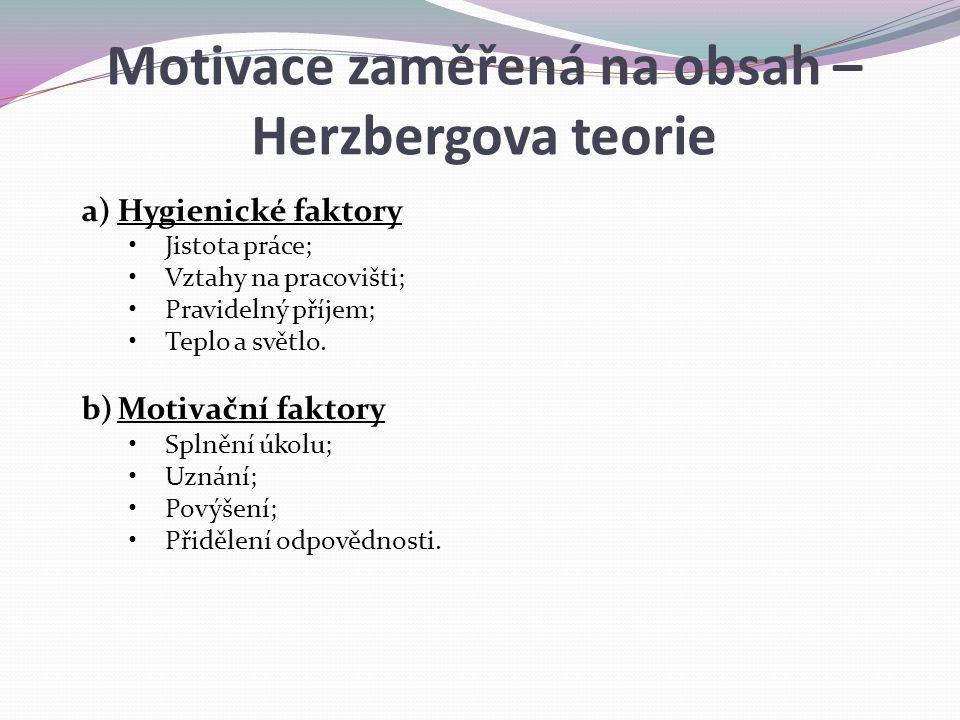 a)Hygienické faktory Jistota práce; Vztahy na pracovišti; Pravidelný příjem; Teplo a světlo. b)Motivační faktory Splnění úkolu; Uznání; Povýšení; Přid