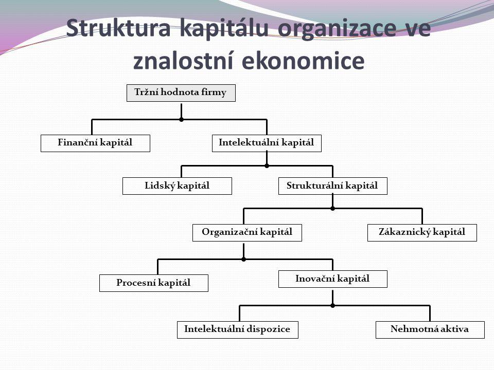 Tržní hodnota firmy Finanční kapitálIntelektuální kapitál Lidský kapitálStrukturální kapitál Organizační kapitálZákaznický kapitál Procesní kapitál In