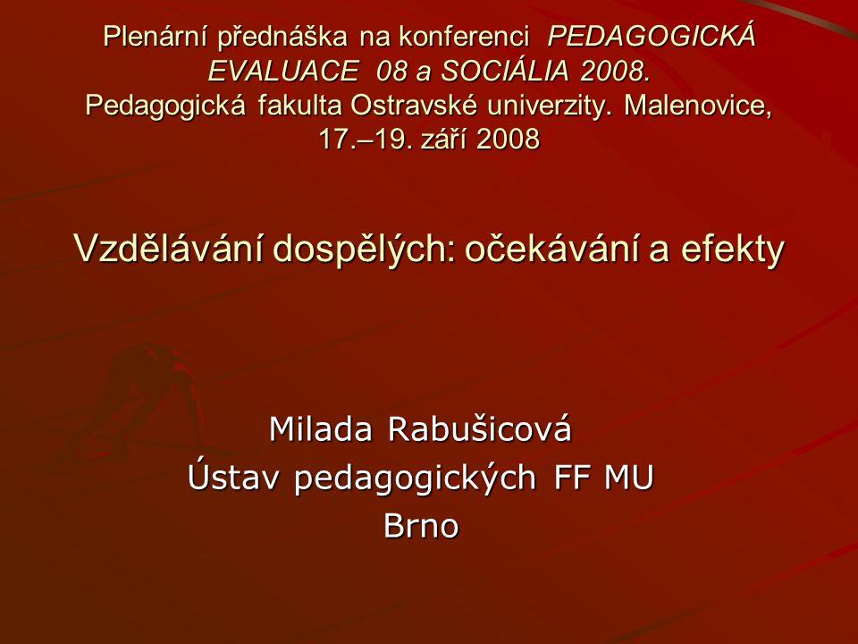 Plenární přednáška na konferenci PEDAGOGICKÁ EVALUACE 08 a SOCIÁLIA 2008. Pedagogická fakulta Ostravské univerzity. Malenovice, 17.–19. září 2008 Vzdě