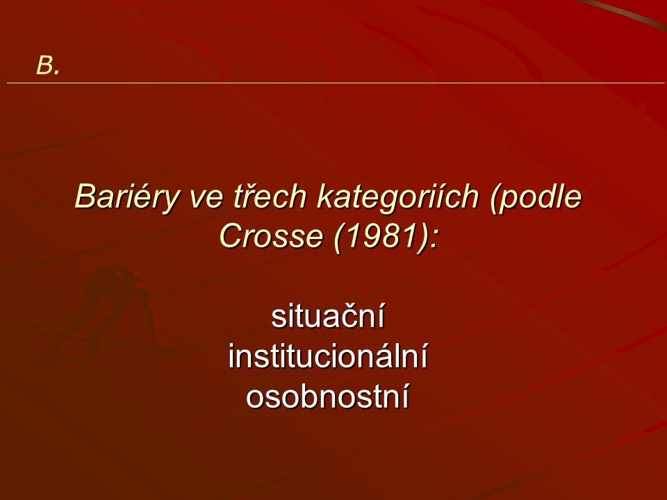 B. ______________________________________________________________ Bariéry ve třech kategoriích (podle Crosse (1981): situační institucionální osobnost