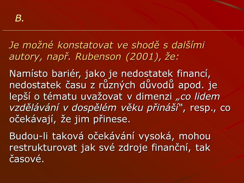 B. ______________________________________________________________ Je možné konstatovat ve shodě s dalšími autory, např. Rubenson (2001), že: Namísto b