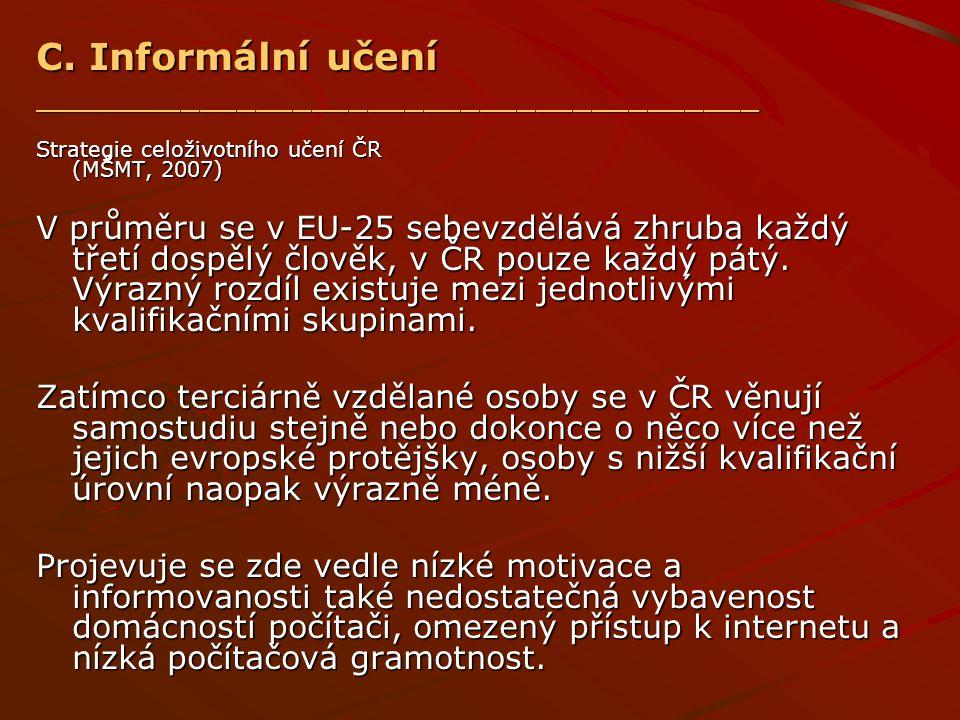 C. Informální učení _______________________________________ Strategie celoživotního učení ČR (MŠMT, 2007) V průměru se v EU-25 sebevzdělává zhruba kaž