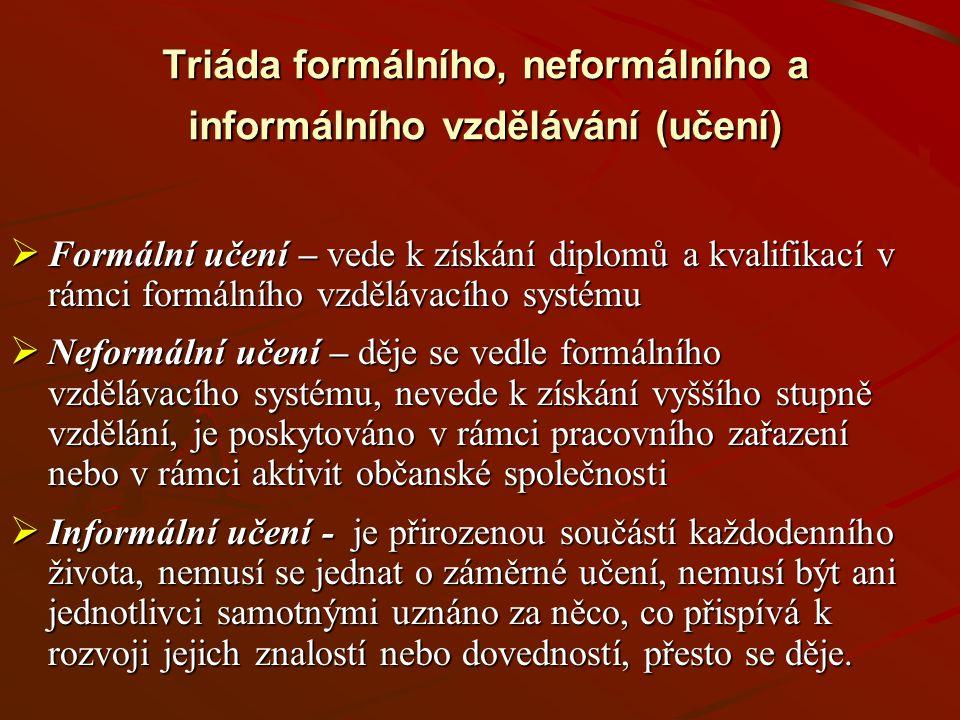 První náznaky Uznávání a prostupnost Rovný přístup Funkční gramotnost Sociální partnerství Stimulace poptávky KvalitaPoradenství
