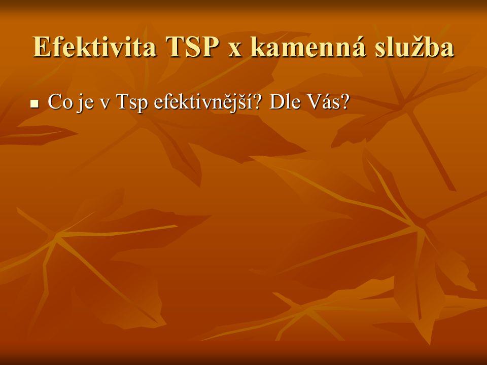 Efektivita TSP x kamenná služba Co je v Tsp efektivnější? Dle Vás? Co je v Tsp efektivnější? Dle Vás?