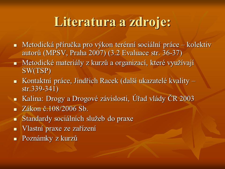 Literatura a zdroje: Metodická příručka pro výkon terénní sociální práce – kolektiv autorů (MPSV, Praha 2007) (3.2 Evaluace str. 36-37) Metodická přír