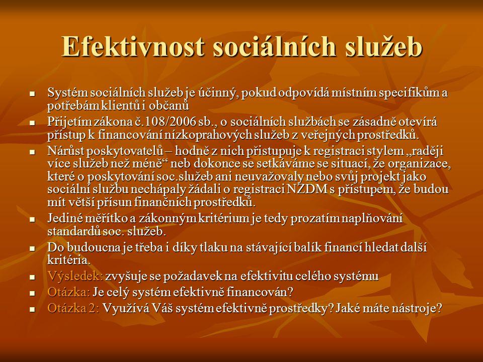 Efektivnost sociálních služeb Systém sociálních služeb je účinný, pokud odpovídá místním specifikům a potřebám klientů i občanů Systém sociálních služ