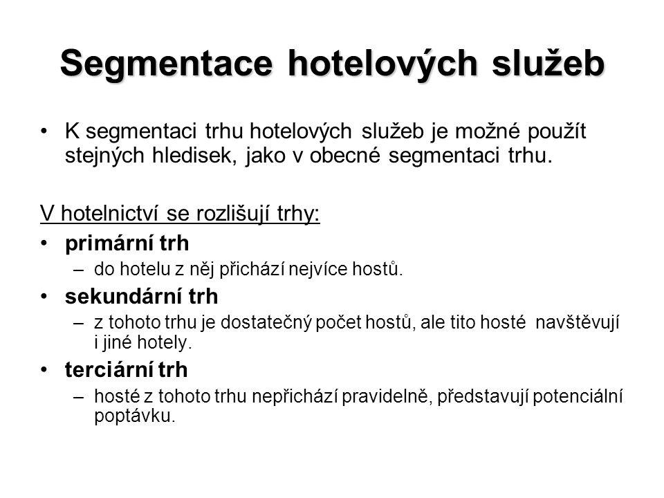 Segmentace hotelových služeb K segmentaci trhu hotelových služeb je možné použít stejných hledisek, jako v obecné segmentaci trhu. V hotelnictví se ro