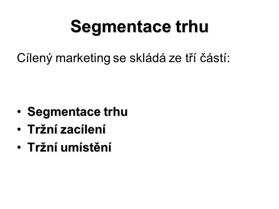 Cílený marketing se skládá ze tří částí: Segmentace trhuSegmentace trhu Tržní zacíleníTržní zacílení Tržní umístěníTržní umístění