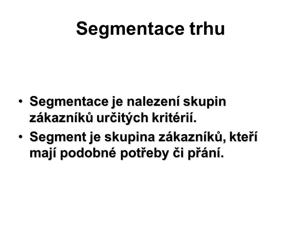 Segmentace trhu Segmentace je nalezení skupin zákazníků určitých kritérií.Segmentace je nalezení skupin zákazníků určitých kritérií.