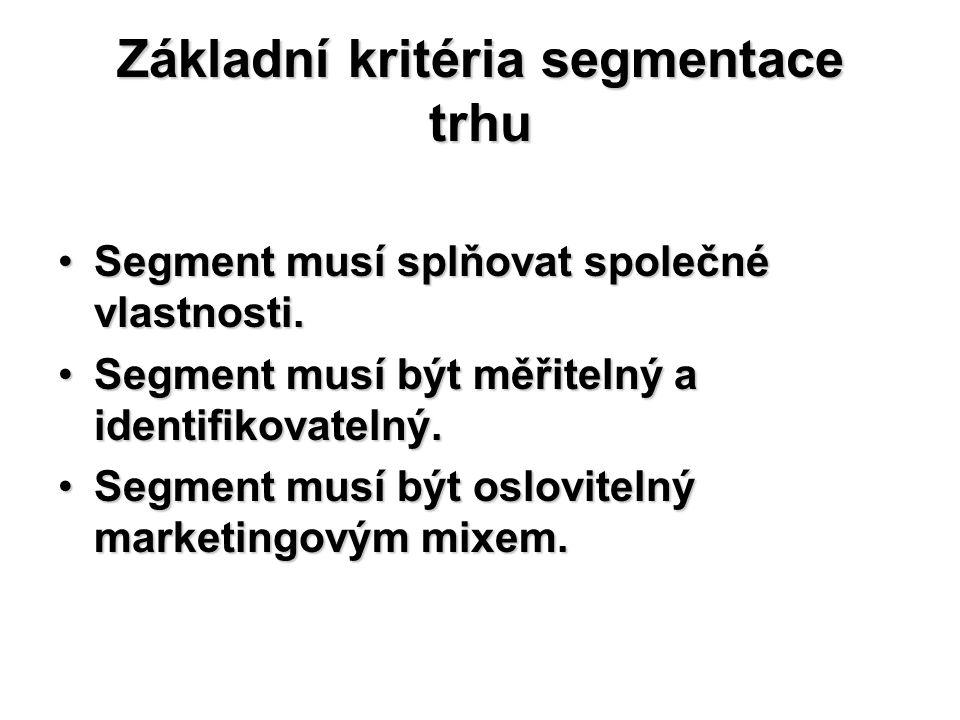 Základní kritéria segmentace trhu Segment musí splňovat společné vlastnosti.Segment musí splňovat společné vlastnosti. Segment musí být měřitelný a id